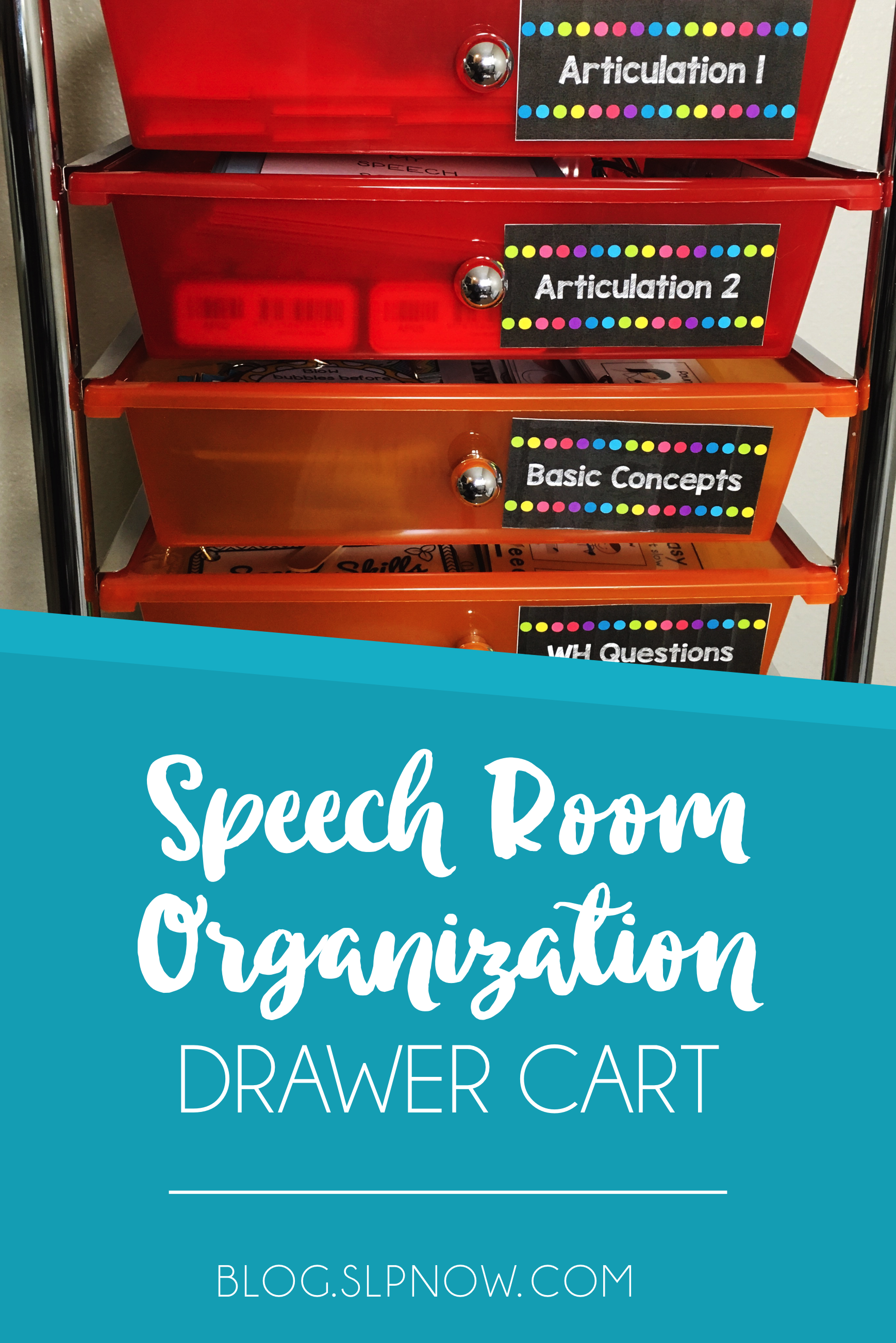 Drawer cards are a serious lifesaver in schools! I use my drawer cart for lots of different things, so I'm sharing all of my favorite speech room organization tips using a drawer cart in this post. Time to get organized!