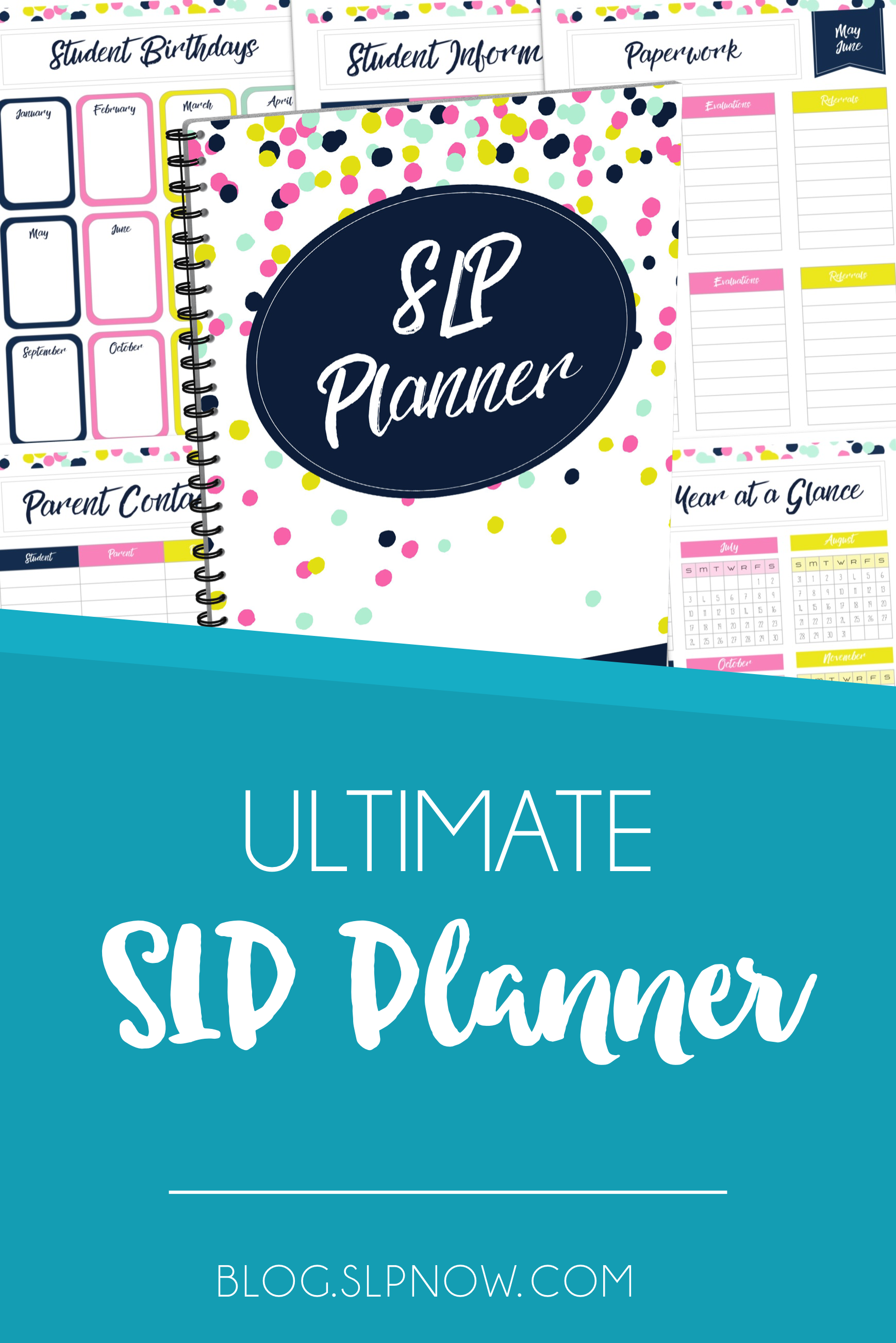 Despite all of the many planners out there, there isn't an SLP planner that we find really helpful. That's why I made the Ultimate SLP Planner, which is not only custom-made for SLPs but is also customizable and jam-packed with all sorts of planning resources to keep you organized! Read more about it in this post!