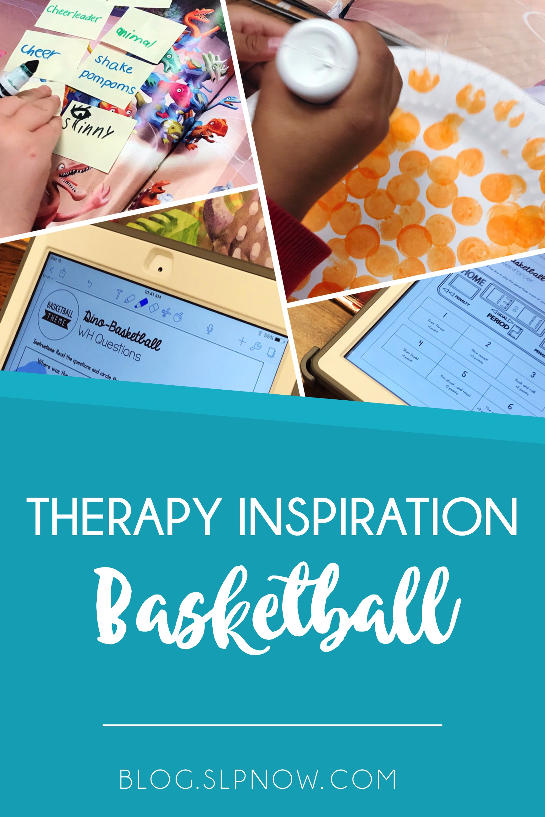 Feeling bored in therapy? Check out this post for a round-up on therapy ideas around a BASKETBALL theme!
