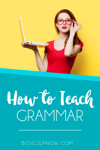 Grammar instruction is important in the speech therapy room, because it often needs to be generalized to other skill areas. How can an SLP go about the process of teaching grammar? I share some research-based information on assessments, and then I share a basic outline of what it could look like to teach grammar in speech therapy. Click through to read more!