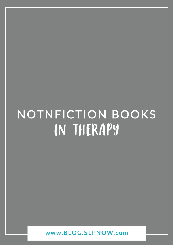 Do you like using nonfiction books in your speech therapy sessions? Click through to read about a nonfiction collection that I've recently discovered and LOVE! You'll be excited to incorporate these books into your therapy, too!