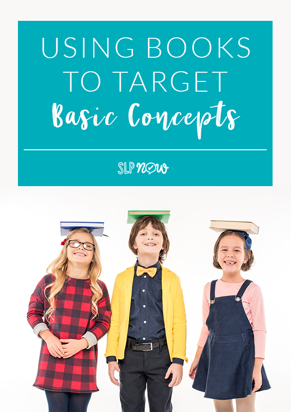 Books provide an excellent means to target basic concepts in any SLP's speech therapy room. I share how I use books to accomplish this purpose in this blog post, so click through to read more and find links to research articles to back it up!