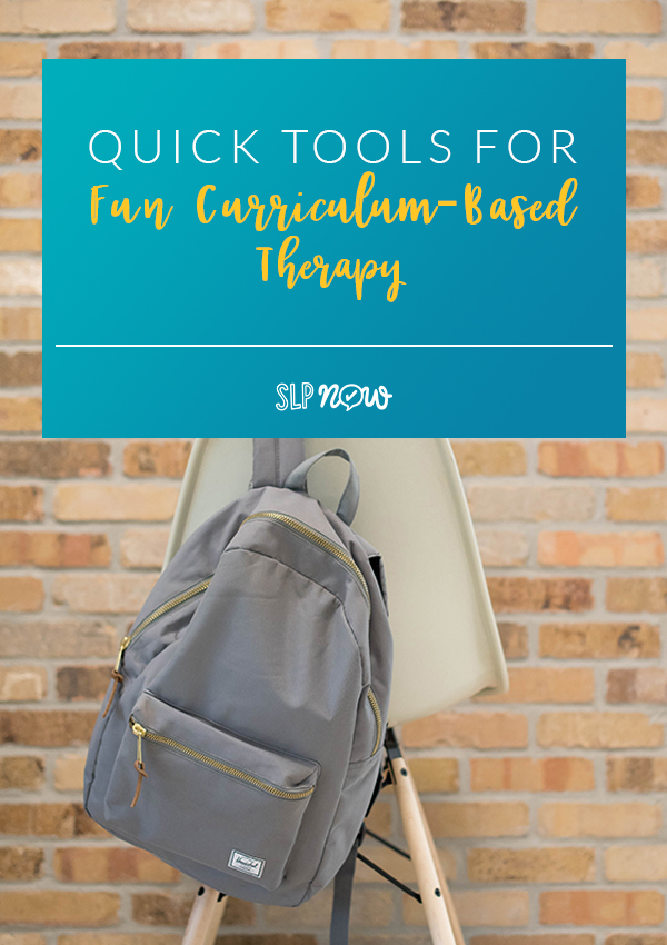 Check out this list of quick tools that you can use in your speech room to make curriculum-based therapy fun and engaging for your students.