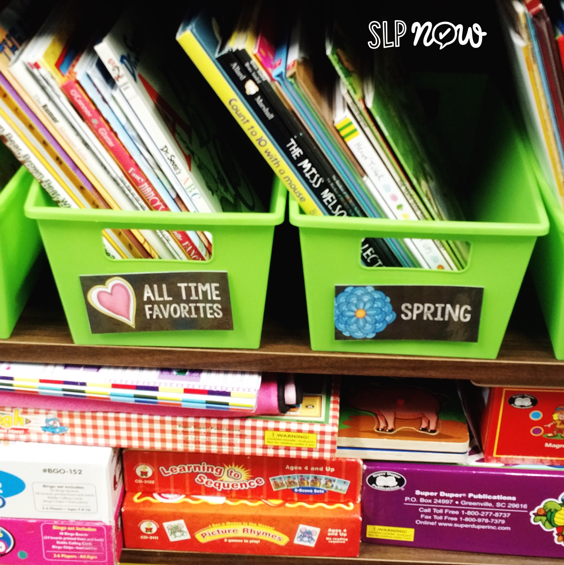 Most SLPs have pretty small speech therapy rooms that can get very disorganized, very quickly. I'm sharing four tips for easy book organization in this blog post, so click through to learn more about how to keep your books organized and easy to find!