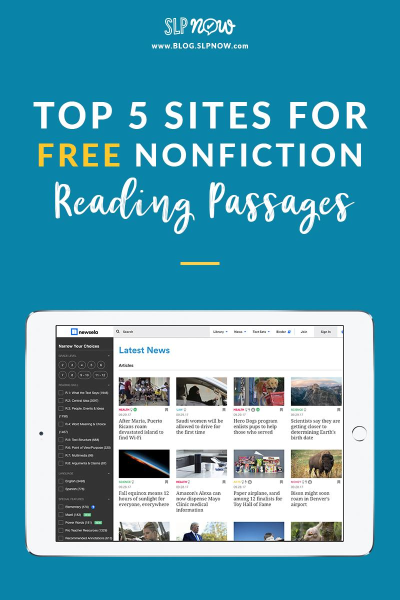 Struggling to find engaging activities for your therapy sessions? Check out these sites that have FREE nonfiction reading passages. They include a wide range of topics, and there's bound to be something to engage the trickiest of students!