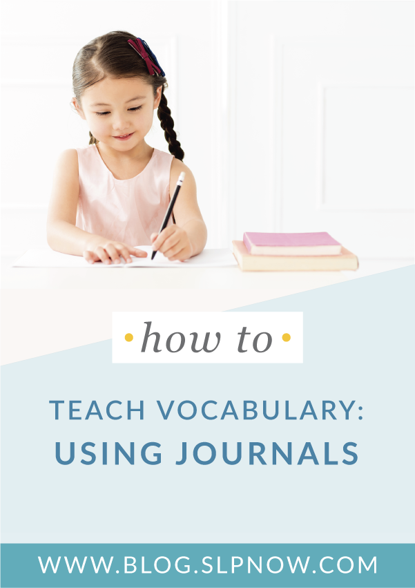 A fun and engaging way for SLPs to spruce up vocabulary instruction is to use vocabulary journals. I'm sharing ways speech pathologists can use journals to teach vocabulary in meaningful ways. Read the post to get all of the tips and ideas shared!