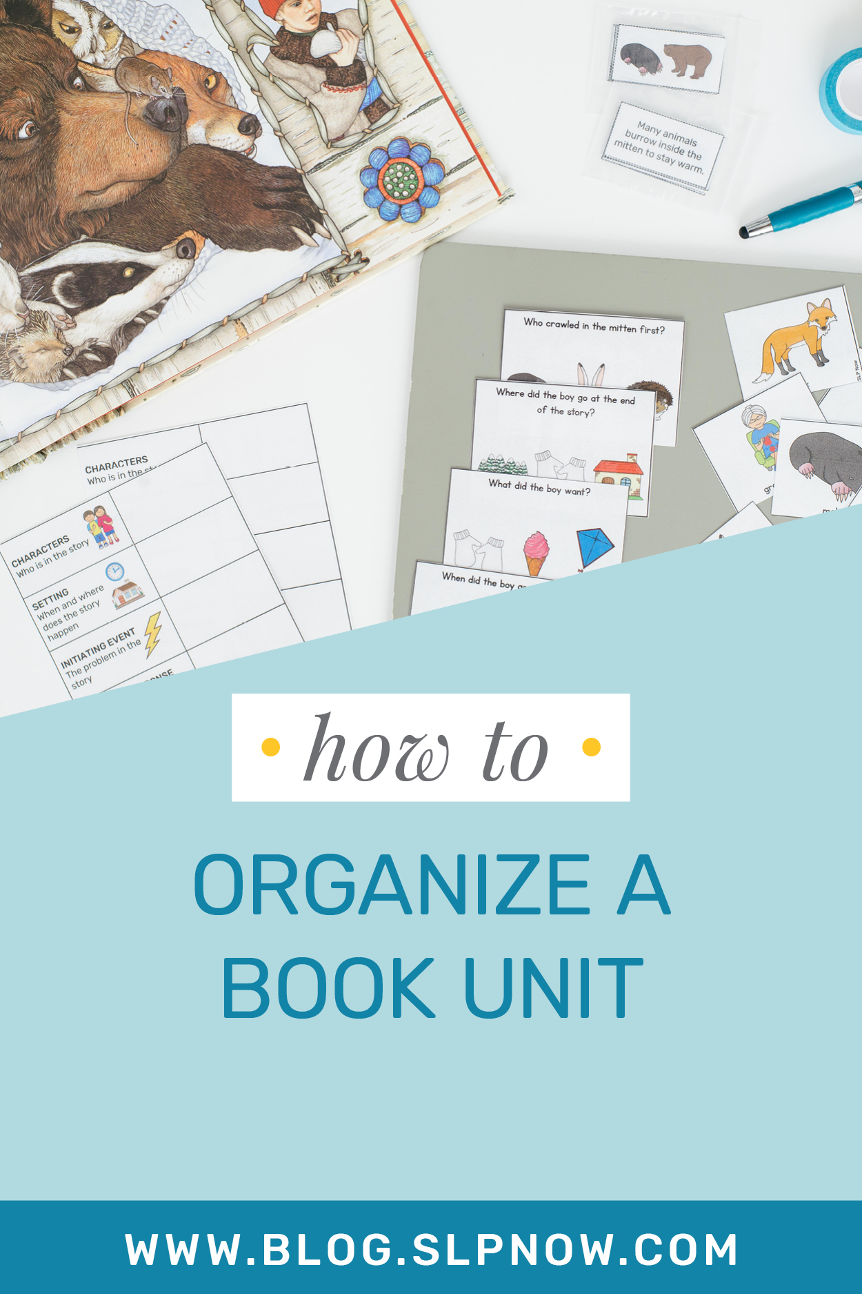 It's an excellent idea for SLPs to use themes to organize book units in speech therapy, but it can feel like a daunting organizational task. This blog post dives into a tutorial about how to organize a book unit using the materials available in the SLP Now membership. Click through to get insight on how to shorten your planning time!