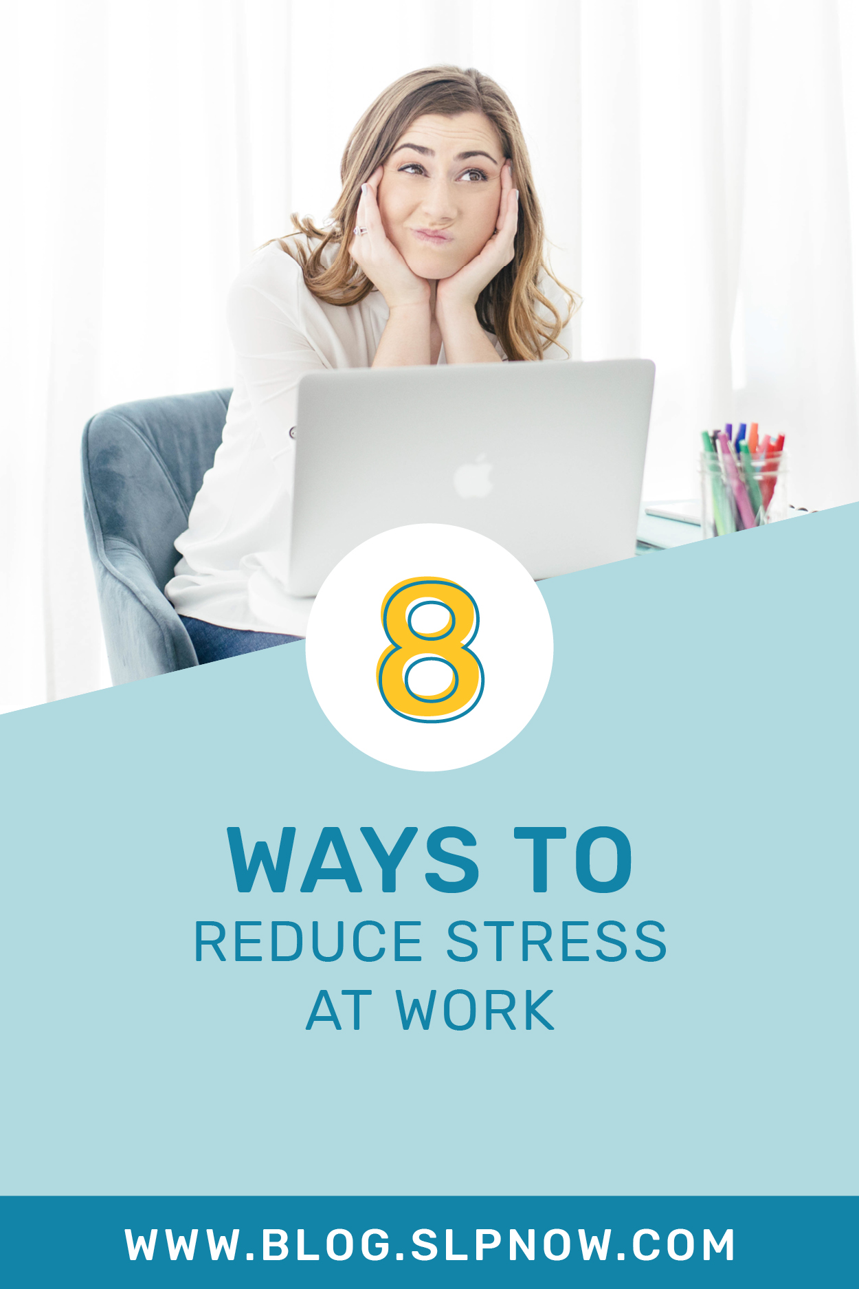 There's no doubt that being an SLP is a stressful job. We often have large caseloads, tons of speech and language skills to target, different grade levels to work with, and lots of behind-the-scenes tasks to tackle. In this blog post, I'm sharing eight ways to reduce stress at work -- it IS possible! Click through to read these tips for school-based SLPs!