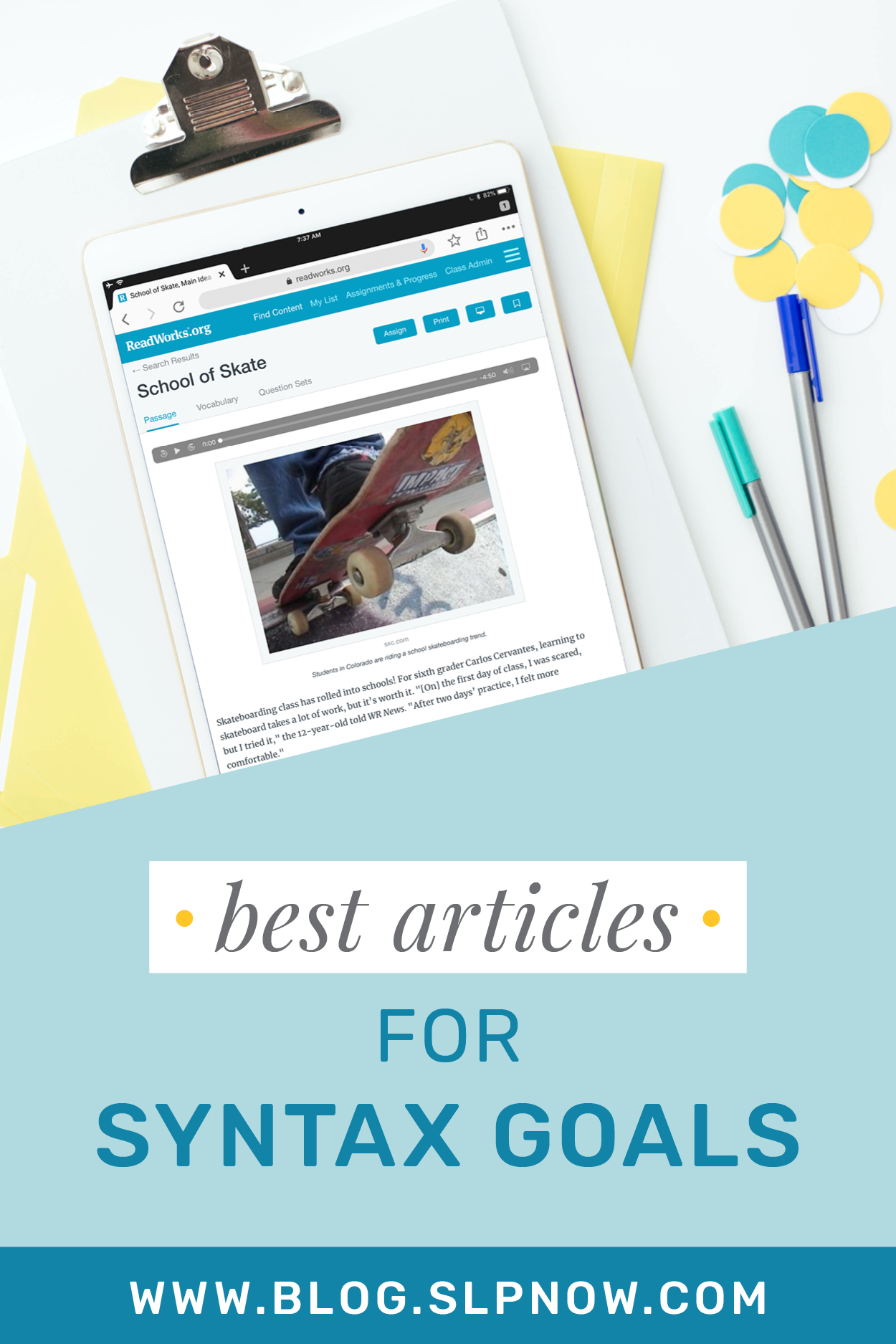 I love sharing tips and tricks to help SLPs implement literacy-based therapy, but it's not always easy to find the perfect text for your mixed group! Because I'm always on the hunt for amazing articles to use, I put together a series of blog posts that highlight my favorites. This week is all about targeting SYNTAX goals — click through to find the article list, aimed for students in grades 3-7!